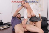 In the same classroom, Lucas fucks his teacher, taking all the juices from inside her pussy. One fucked her tits before cumming on her big melons.